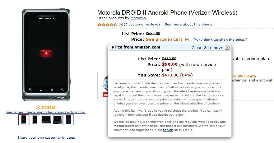 Wirefly & Amazon prices the Motorola DROID 2 at $89.99 on-contract