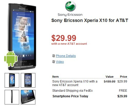Sony Ericsson Xperia X10 for AT&T finds itself fittingly priced at $29.99