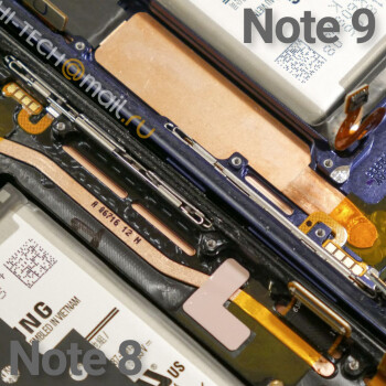 Note 9 vs Note 8 cooling systems, image courtesy of Hi Tech Mail Ru