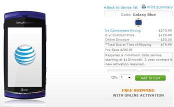 Inexpensive HD packing Sony Ericsson Vivaz for AT&T is now available for purchase