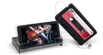 Tape cassette looking case for the iPhone 4 doubles as a stand