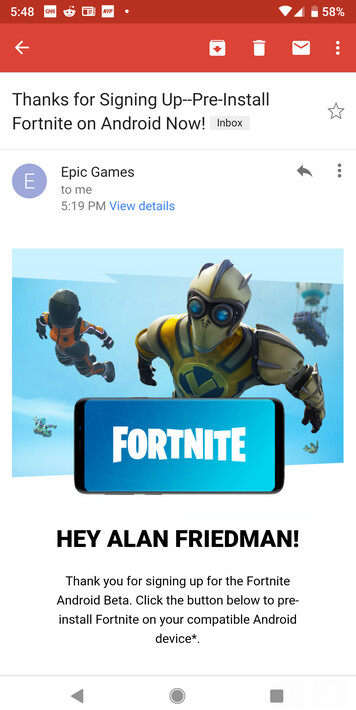 Request an invite for Fortnite from Epic Games and you'll receive an email with a pre-install for your phone - Android users can now request invites to sideload Fortnite; pre-install is sent via email