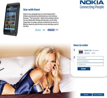 Share a set with Pamela Anderson as part of the Nokia N8 marketing campaign
