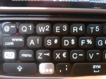 Close-up shots of T-Mobile G2's keyboard appear