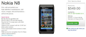Nokia N8 is priced at $549 & will be ready for the US by the end of September