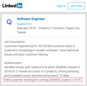 The Snapdragon 855 (SDM855) being mentioned on the LinkedIn page of a Qualcomm engineer