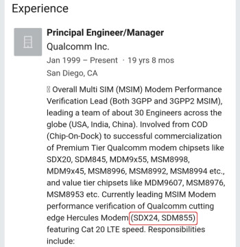 The Qualcomm X24 LTE modem and the Snapdragon 855 mentioned together on the LinkedIn page of a Qualcomm engineer