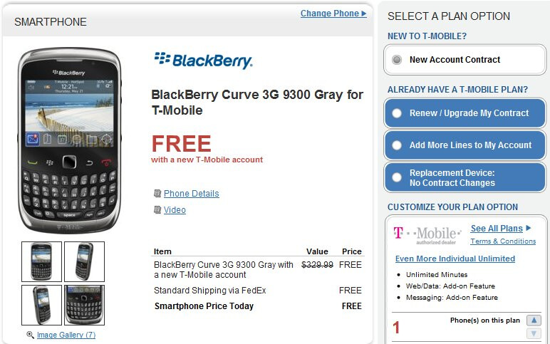Wirefly prices the BlackBerry Curve 3G at free for new customers & $49.99 for upgrades