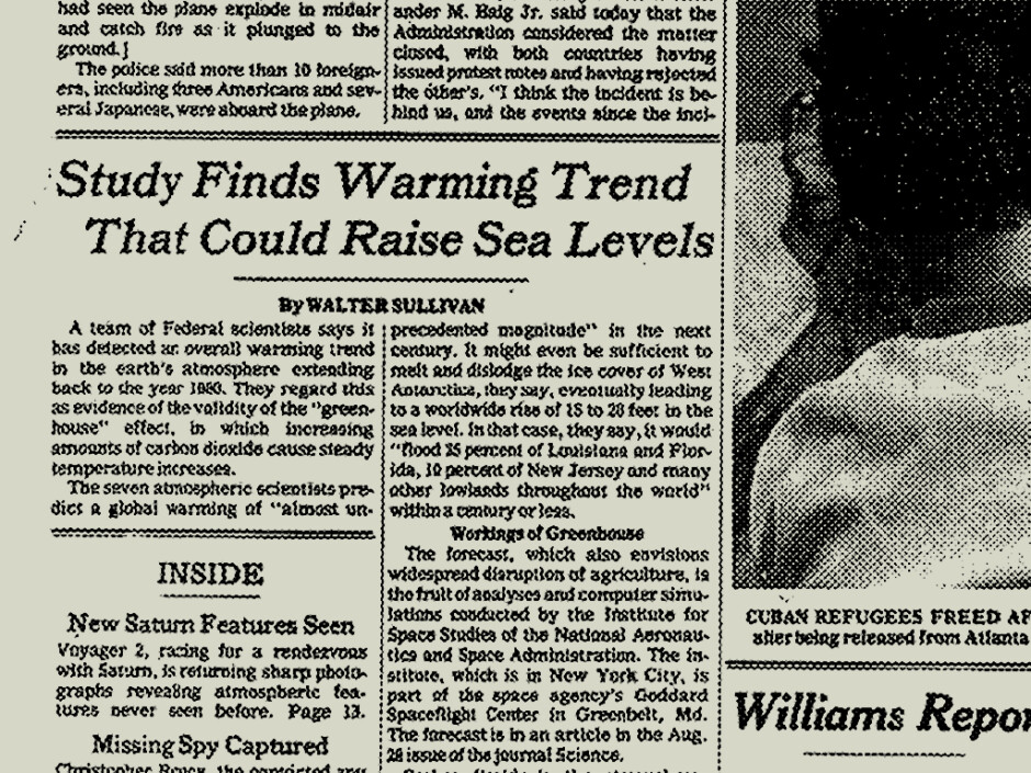 Some US scientists have been onto climate change since the late 70s, and Apple is making a TV series about them. (August 22, 1981, the NYT front page) - Apple just bought the rights of an amazing TV series for its 2019 Netflix killer