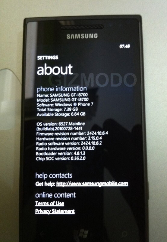 Samsung GT-i8700 - More Samsung and Asus Windows Phone 7 gear leaks