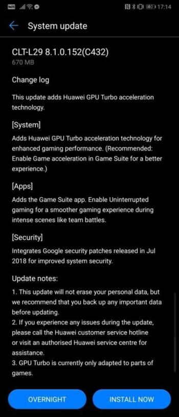 Huawei P20 Pro starts getting GPU Turbo update for enhanced