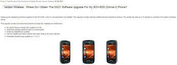 Verizon's Samsung Omnia II receives an unexpected software update