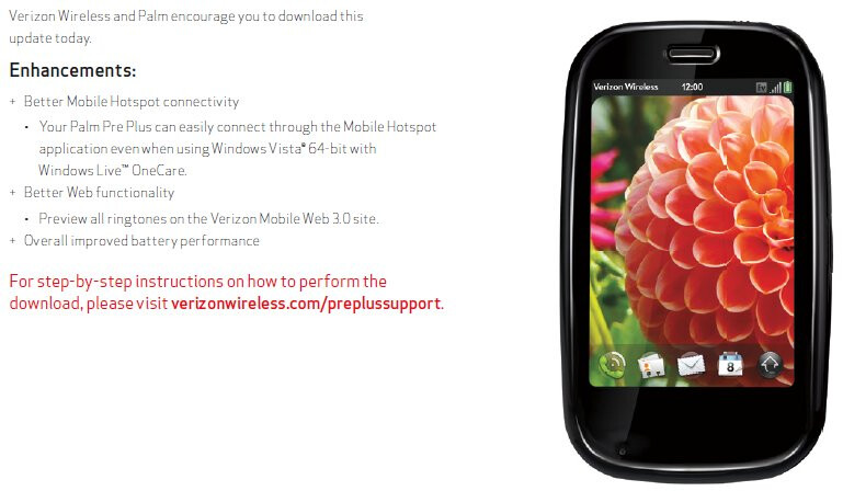webOS 1.4.5 for Verizon's Palm Pre Plus should go live in the coming weeks?