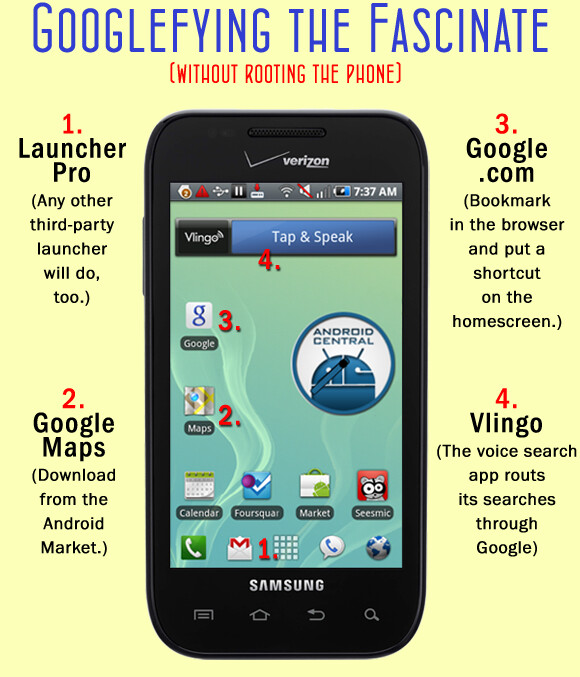 How to put Google on your new Samsung Fascinate without rooting or installing Froyo