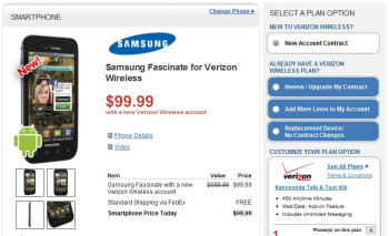 Wirefly quickly chops in half the price of the Samsung Fascinate to $99.99