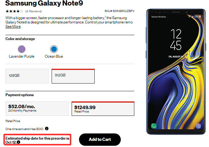 Ocean Blue Samsung Galaxy Note 9 512 GB backordered in the US
