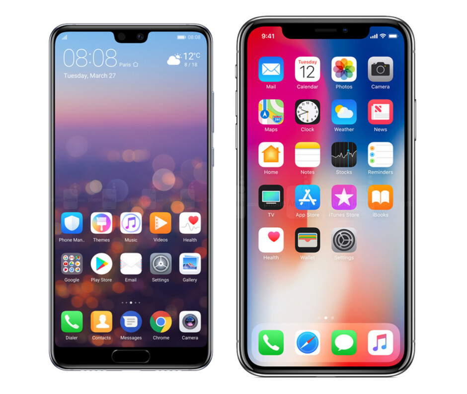 While the Huawei P20 has a smaller notch than the Apple iPhone X, it also sports a chin which the iPhone doesn't have - Huawei compares the notch on the P20 to the one on the Apple iPhone X and says smaller is better