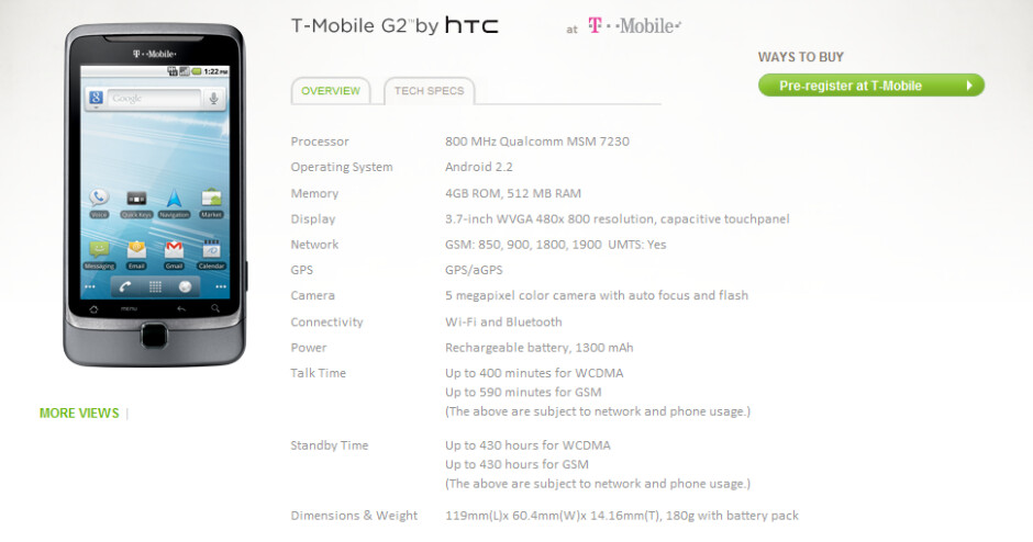 Final T-Mobile G2 specs are revealed by HTC on its web site