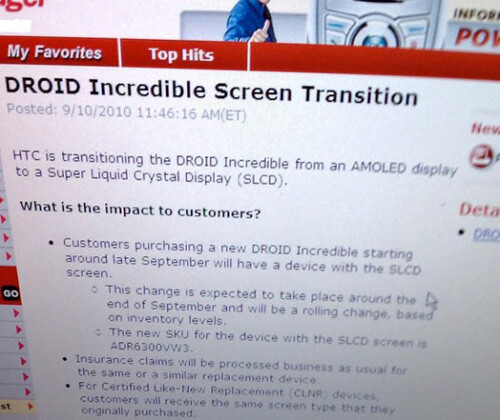 Verizon memo hints at the return of the Droid Incredible with Super LCD glass
