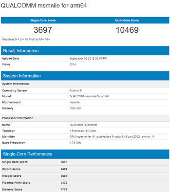 Snapdragon 855 appears on Geekbench