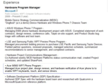 Microsoft engineer's profile hints at an Acer device with Windows Phone 7