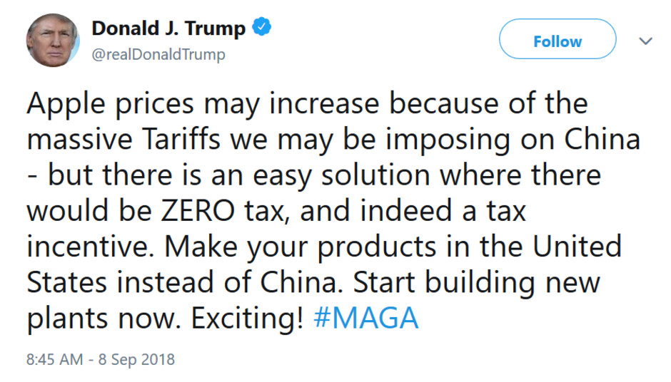The president tells Apple how it can avoid tariffs - Trump tweets: Apple can avoid tariffs by moving jobs to the U.S.