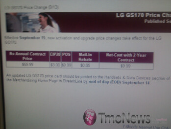 LG GS170 for T-Mobile is getting an unusual price increase?