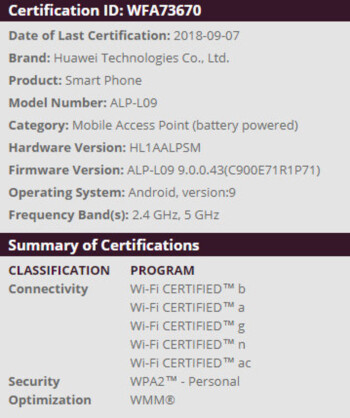 Huawei P20 Wi-Fi Alliance certification