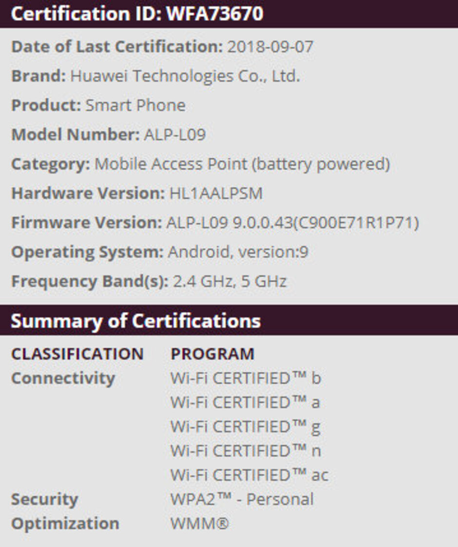 Huawei P20 Wi-Fi Alliance certification - Huawei P20 and Mate 10 series to receive Android 9.0 Pie soon