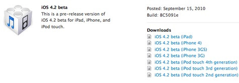 First beta of Apple's iOS 4.2 released