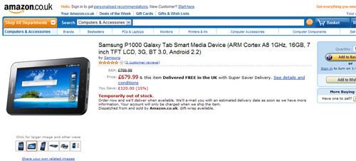 Amazon U.K. has Samsung Galaxy Tab for sale, priced well above iPad