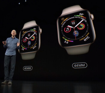 The Apple Watch Series 4 comes in two sizes – 40 and 44 millimeters. The new screens are over 30% bigger vs those in Series 3