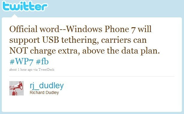WP7 devices to allow USB tethering right out of the box