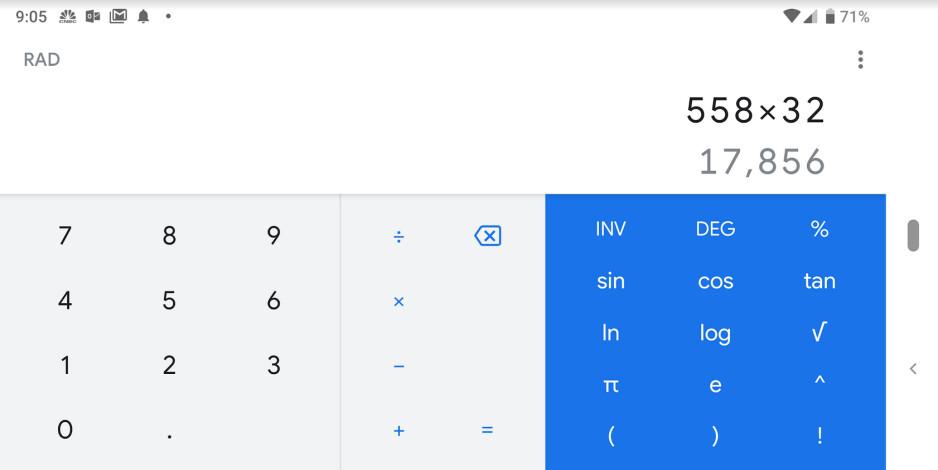 Updated Google Calculator in Landscape orientation - Google Calculator app gets the Material Design treatment