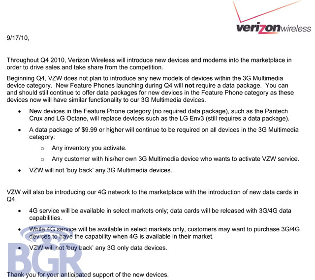 No more 3G multimedia device category for Verizon starting in Q4