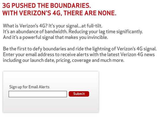 LTE teaser web site is launched by Verizon & touts its bandwidth