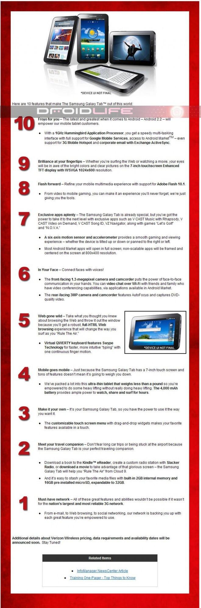 Verizon gives Top Ten reasons to buy a Samsung Galaxy Tab