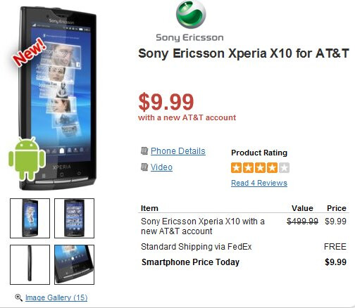 Sony Ericsson Xperia X10 also claims the $9.99 price mark with a contract