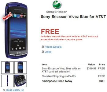 AT&T's Sony Ericsson Vivaz is priced at free for new & existing customers