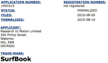 "RIM applies for the ""SurfBook"" trademark - possible name for their tablet?"