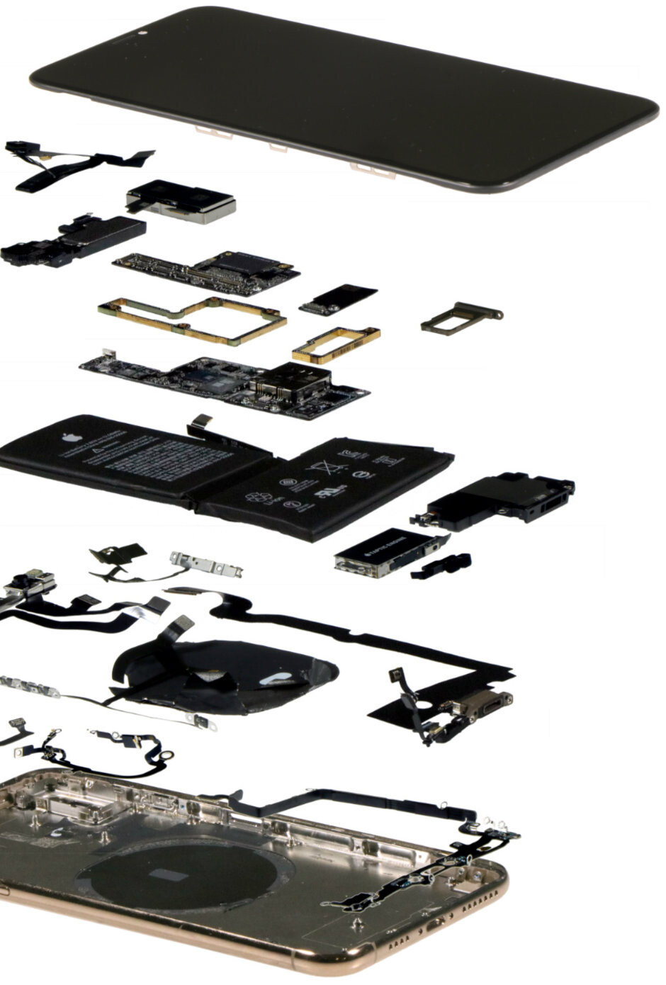 An iPhone XS Max in 'exploded' view - The ultimate iPhone XS Max teardown reveals it costs $20 more to make than... iPhone X