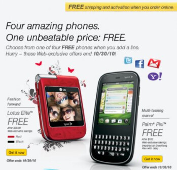 Sprint sets the Palm Pixi at the instant price of free - no mail-in-rebate required