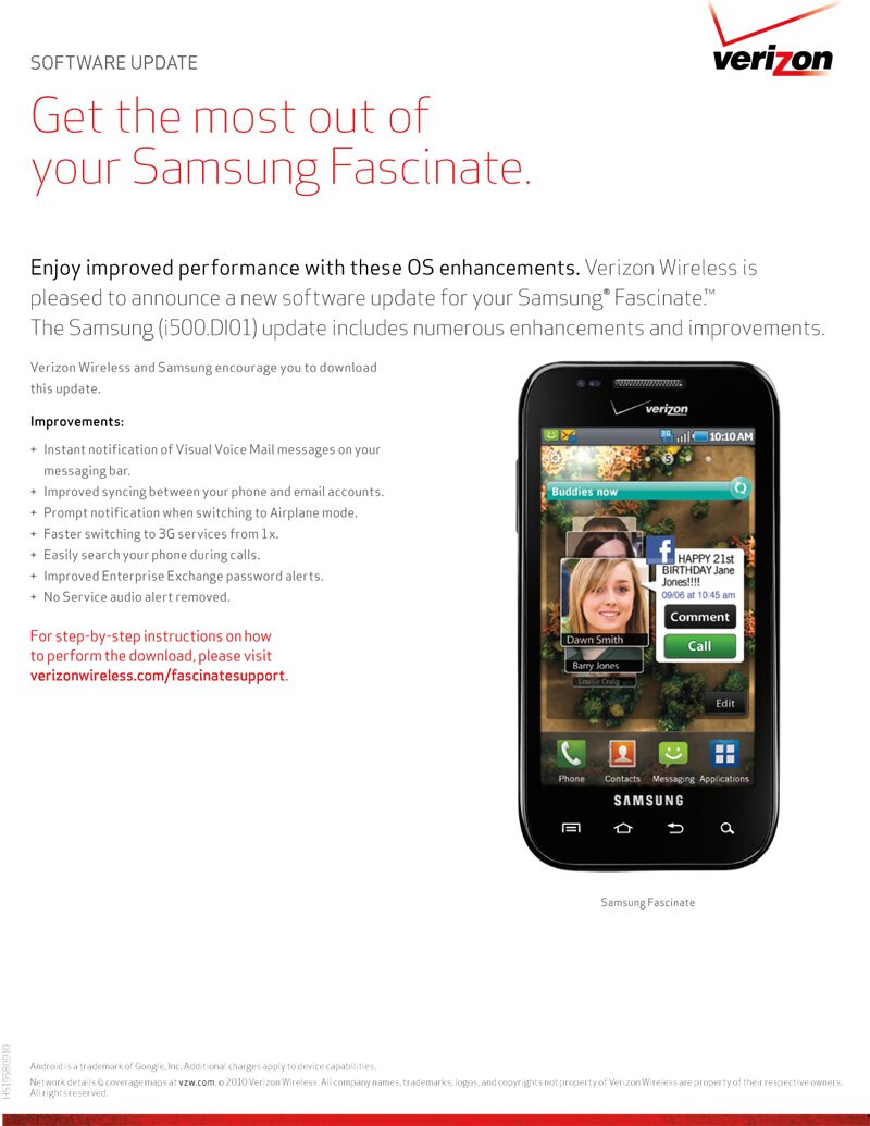 Samsung Fascinate is also ready to receive an update; not Froyo though