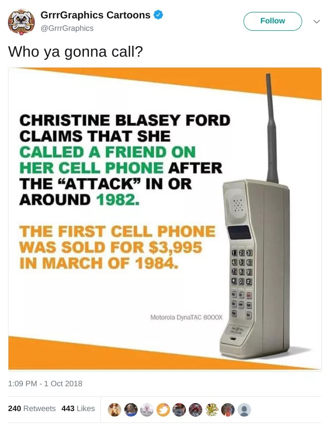 The first cell phone, Motorola DynaTac, enters the Supreme Court nomination drama