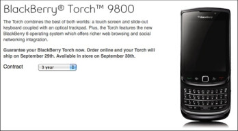 Bell is now offering pre-orders for the BlackBerry Torch; will ship on September 29th