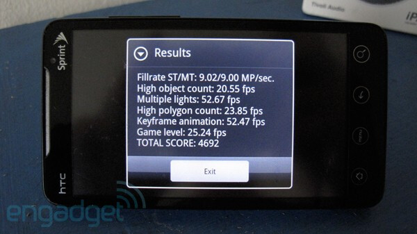 Image courtesy of Engadget - Software upgrade fixes EVO 4G's frame rate cap problem and other minor bugs
