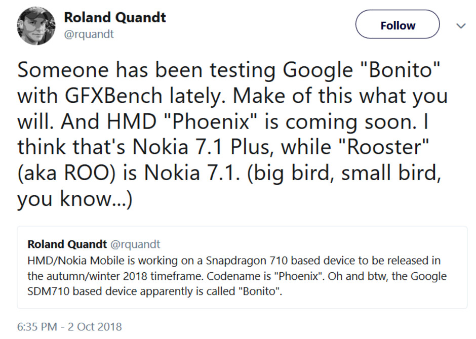"""Is Google testing a mini Pixel? - Could there be a mini Pixel for real?; Google """"Bonito"""" with SD-710 is being tested on GFX"""