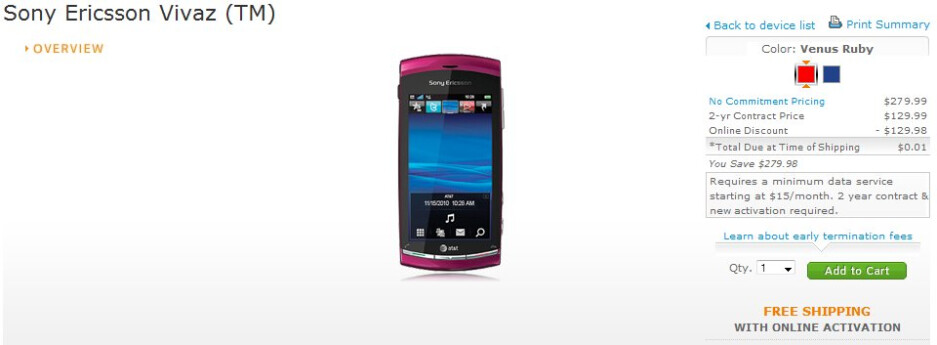 AT&T drops the price of the HD equipped Sony Ericsson Vivaz to $0.01