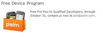 """Qualified Developers"" are being offered a free Palm Pre Plus"
