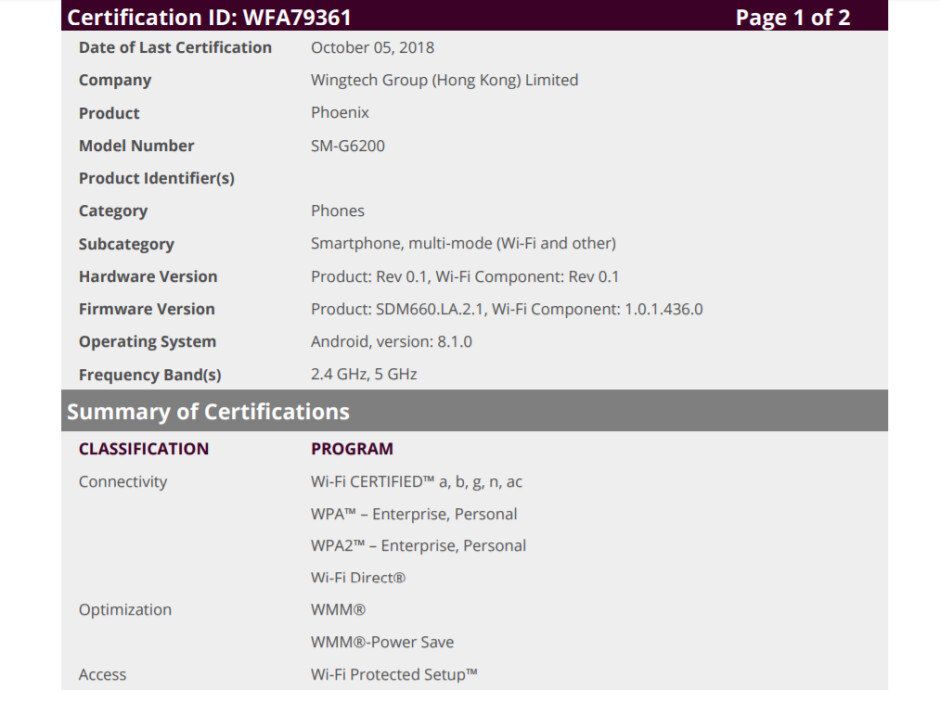 Samsung Galaxy A6s Wi-Fi certification confirms outsourced production